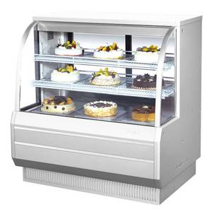 Turbo Air TCGB-48-2 48.5in Refrigerated Bakery Display Case Cooler Curved Glass