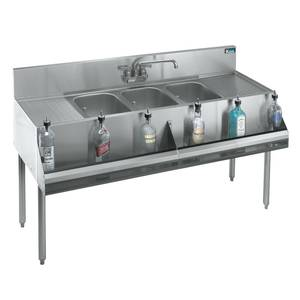 Krowne Metal KR18-73C 3 Compartment Bar Sink 19D w/ Two 24 Drainboards Stainless