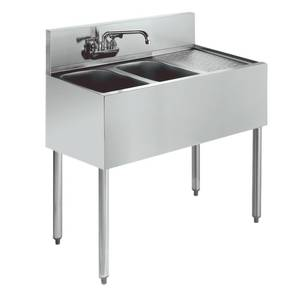 Krowne Metal Stainless Underbar Sink 2 Compartment 21D w/ 12 Drainboard - KR21-32