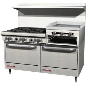 Southbend 60 Gas 6 Burner Restaurant Range 2 Ovens 24 Raised Griddle - S60DD-2RR
