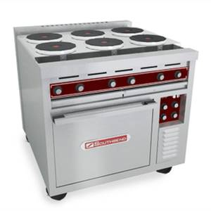 Southbend SE36A-BBB 36 Electric Convection Oven Range w/ 6 Round Hotplates