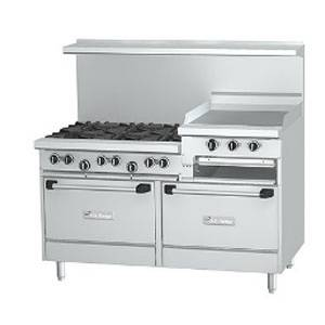 US Range U60-6R24RR 60 Gas 6 Burner Commercial Range 24 Raised Griddle 2 Ovens