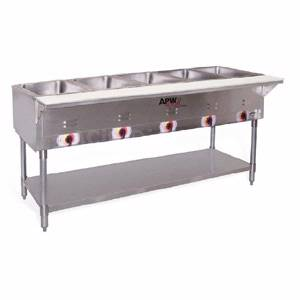 APW Wyott 5 Well Portable Electric Hot Food Steam Table Stainless Legs - PST-5S