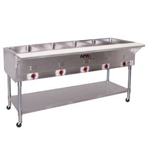 APW Wyott 5 Sealed Well Mobile Electric Food Steam Table Coated Legs - PSST-5