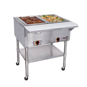 APW Wyott PSST-2S Electric 2 Sealed Well Mobile Food Steam Table with S/s Legs
