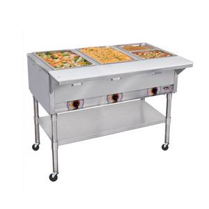 APW Wyott 4 Sealed Well Mobile Food Steam Table Electric with S/s Legs - PSST-4S