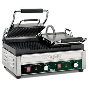 Waring Dual Sandwich Panini Grill 17 x 9.25 Ribbed Plates 240v - WPG300