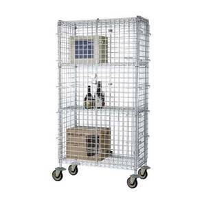 Focus Foodservice FMSEC18604 18x60x63 Four-Shelf Chrome Mobile Security Cage