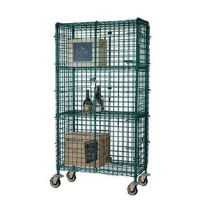 Focus Foodservice 24x60x63 Two-Shelf Green Epoxy Mobile Security Cage - FMSEC2460GN