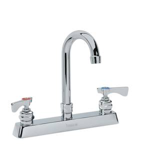 Krowne Metal Royal 8 Deck Mount Faucet - 8.5 Gooseneck Spout LOW LEAD - 15-502L