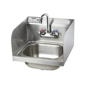 Krowne Metal 16 Wide Hand Sink w/ Side Splashes & Gooseneck Spout Faucet - HS-26L