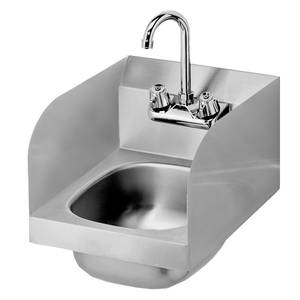 Krowne Metal HS-30L 12 Wide Hand Sink w/ Side Splashes & Gooseneck Spout Faucet