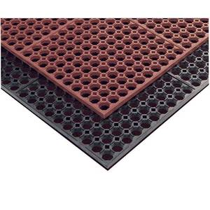 APEX Foodservice Mats 3' x 5' Step Light Red Grease Resistant Bar & Kitchen Mat - 754-275