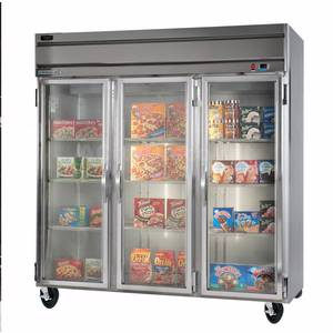 Beverage-Air HFP3-5G 74 CuFt Horizon Glass Door Reach-In Freezer w/ S/S Sides