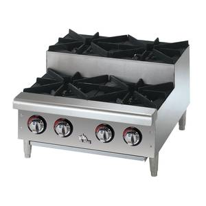 Star-Max 4 Burner 100kBTU Step-Up Countertop Gas Hot Plate - 604HF-SU