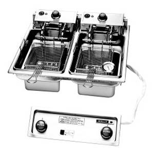 Wells F-686 Built-In 30lb. Cap. Dual Fry Pot Deep Fryer w/ Basket Lifts