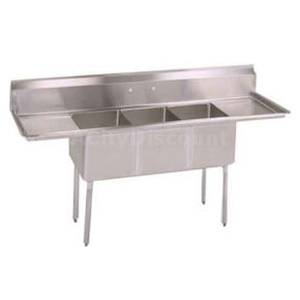John Boos E3S8-1824-14T24 3 Compartment Sink 18 x 24 x 14 Bowls Two 24 Drainboards