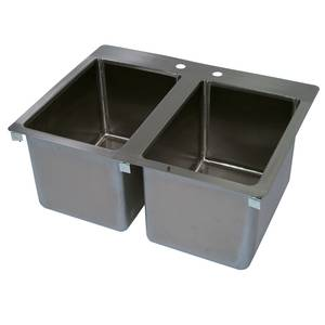 John Boos 2 Compartment Drop In Hand Sink 10 x 14 x 10 Bowls - PB-DISINK101410-2