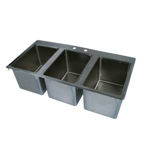 John Boos 3 Compartment Drop In Hand Sink 10 x 14 x 10 Bowls - PB-DISINK101410-3
