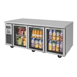 Turbo Air JUR-72-G 72 Side Mount Undercounter Cooler with 3 Swing Glass Doors