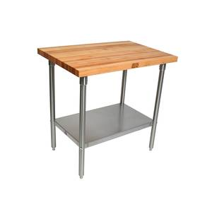 John Boos SNS08 48x30 Wood Top Work Table 1.75 Thick Stainless Undershelf