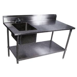 John Boos 30x60 S/s Work Table w/ Prep Sink & Galvanized Undershelf - EPT6R5-3060GSK