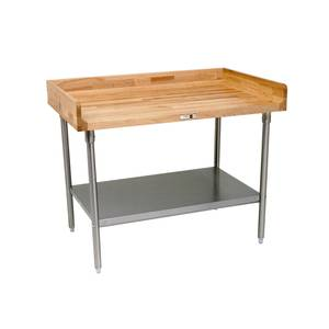 John Boos DSS09 96 x 30 Wood Top Work Table 4 Risers Stainless Undershelf