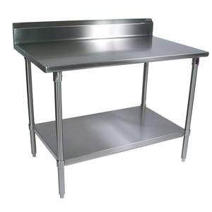 John Boos ST6R5-2430SSK All Stainless 30x24 Worktable 16 Gauge 5 Riser Undershelf
