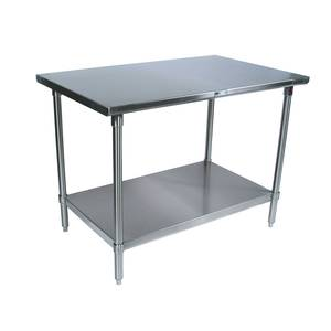 John Boos 96x24 Stainless Work Table 16 Gauge Galvanized Undershelf - ST6-2496GSK