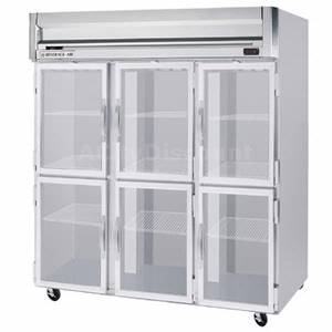 Beverage-Air HF3-5HG-LED 74 CuFt Horizon Series Glass 6-Door Reach-In Freezer w/ LED