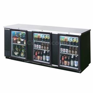 Beverage-Air 94 Three-Section Glass Door LED Bar Cooler W/ S/S Exterior - BB94G-1-S-LED
