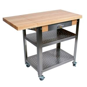 John Boos CUCE40 40 Mobile Butcher Block Cart w/ 2 Shelves and 10 Leaf Drop