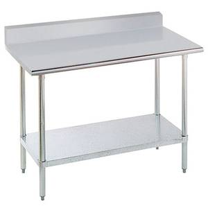 Advance Tabco KLAG-302-X 24 x 30 Work Table 16 Gauge S/s 5 Riser Galvanized Shelf