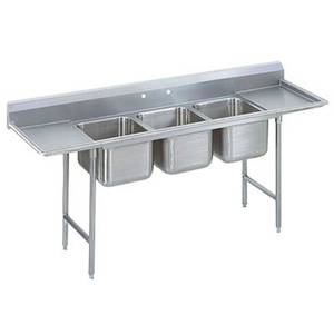Advance Tabco 3 Comp Sink 18 Gauge 16x20 Bowls S/s Two 18 Drainboards - T9-3-54-18RL-X