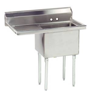 Advance Tabco 1 Compartment Sink 18 Gauge 18x18x12 Bowl 18 Drainboard - FE-1-1812-18*-X