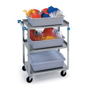 Lakeside 18.33W x 30.8L S/S 3-Shelf Utility Cart w/ 300 lb Capacity - 322