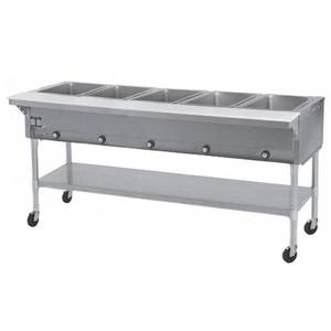 Eagle Group PDHT5 5-Well Mobile Electric Hot Food Table w/ Galvanized Shelf