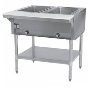 Eagle Group 2-Well Stationary Electric Hot Food Table & Galvanized Shelf - DHT2-1X