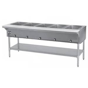 Eagle Group 5-Well Stationary Gas Hot Food Table w/ S/S Shelf & Legs - SHT5-*
