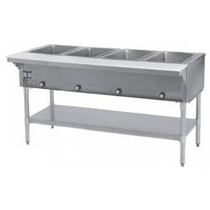 Eagle Group 4-Well Stationary Gas Hot Food Table w/ S/S Shelf & Legs - SHT4-*
