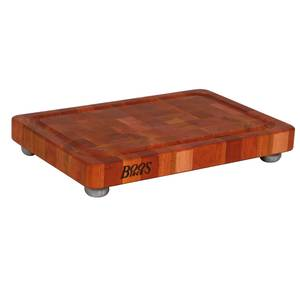 John Boos 18 x 12 Cherry Cutting Board with Groove & Stainless Feet - CHY-1812175-SSF