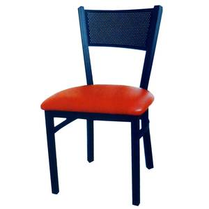 All About Furniture Black Textured Metal Restaurant Mesh Back Chair w/ Wood Seat - MC311 WS