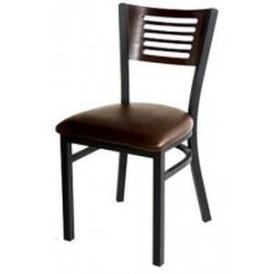 All About Furniture Slat Back Restaurant Chair Black Metal Frame & Wood Seat - MC350B WS