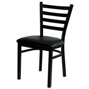 All About Furniture Copper Metal Restaurant Ladder Back Chair Black Vinyl Seat - MC401 BL
