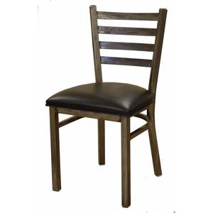All About Furniture Clear Metal Restaurant Ladder Back Chair w/ Black Vinyl Seat - MC403 BL
