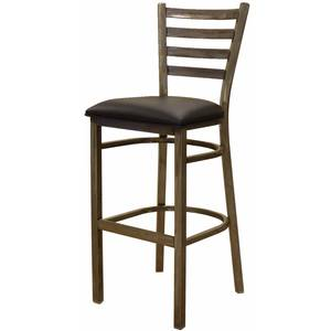 All About Furniture MC403-BS BL Clear Coat Metal Ladder Back Bar Stool w/ Black Vinyl Seat