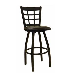 All About Furniture MC450-BSS WS Black Metal Window Back Swivel Bar Stool w/ Wood Seat