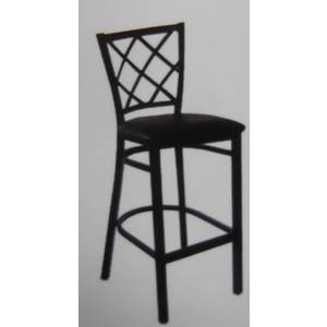 All About Furniture Black Metal Diamond Back Bar Stool with Black Vinyl Seat - MC460-BS BL
