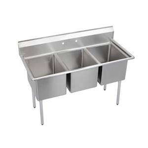Elkay Foodservice 3C18X18-0X 3 Compartment Sink 16/300 Stainless 18 x 18 x 12 Bowls