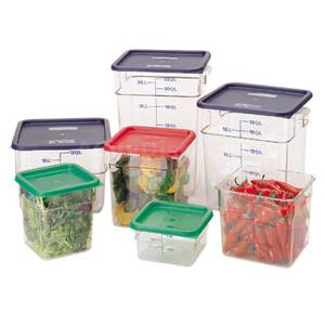 Cambro 6 ea - CamSquare 8 Qt Clear Food Container w/ Handles - 8SFSCW